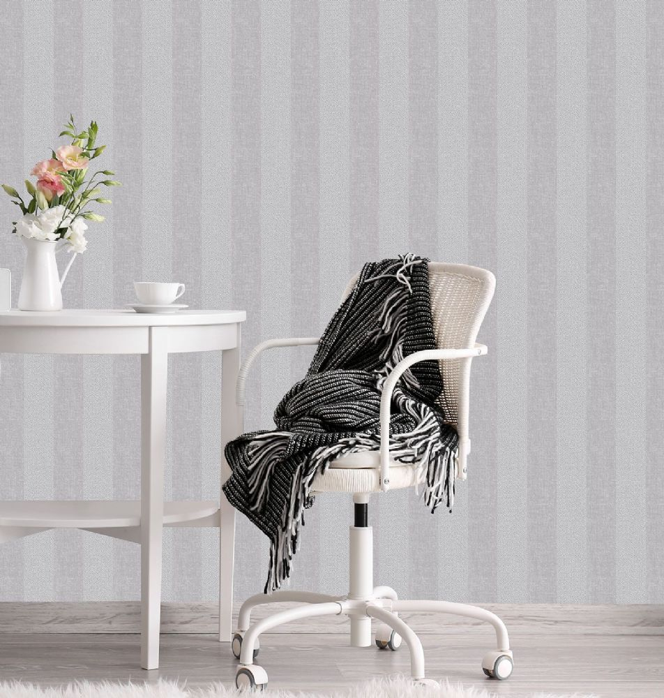 Crown Cotton Tweed Stripe Soft Grey M1312 Wallpaper